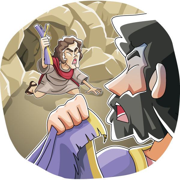 本日のキリスト教クリップアート「サウロを殺さなかったダビデ」