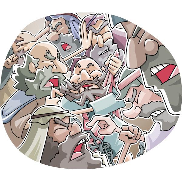 本日のキリスト教クリップアート「サンヘドリンでの騒動」