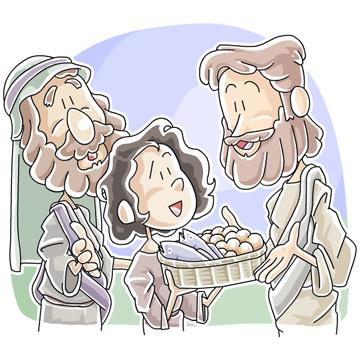魚とパンをイエスにわたした少年