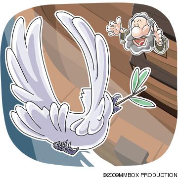 オリーブの葉をくわえて帰ってきた鳩