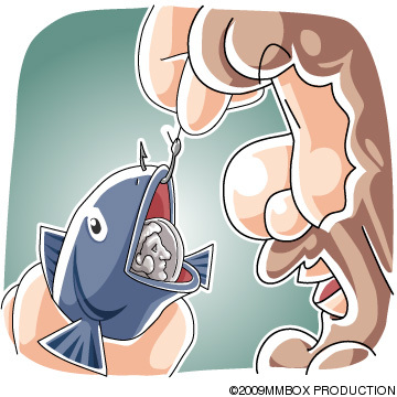 魚の口の中のスタテル