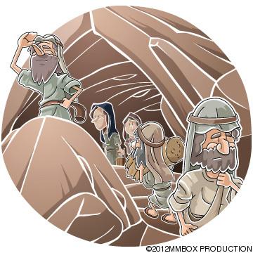 洞窟に隠れたイスラエル人