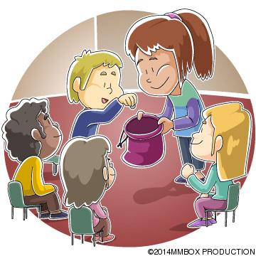 献金する子供たち