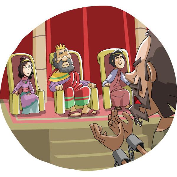 本日のキリスト教クリップアート「アグリッパの前で弁明したパウロ」